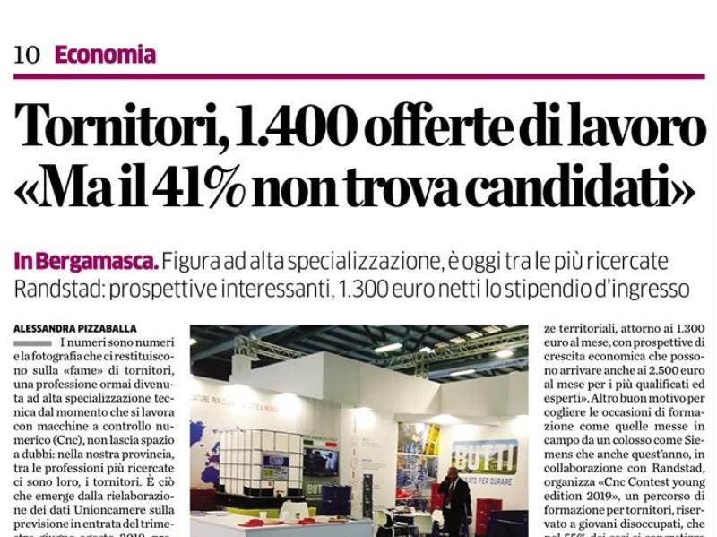 Tornitura Show e' nelle pagine dell'economia dell'Eco di Bergamo.